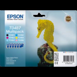 Pack 6 Cartouches encre Epson T0487 Noire et Couleur