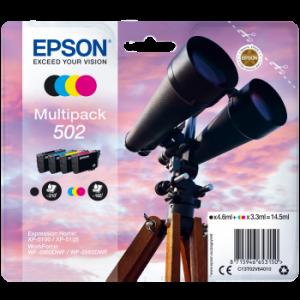 Pack de 4 cartouches origine Epson 502 Noire et Couleurs