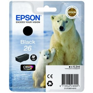 Cartouche encre Epson T2601 noire   - 26 Ours Polaire