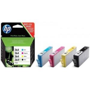 Pack 4  cartouches HP 364 Noire et 364 couleurs