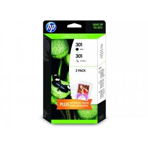 Pack de 2 Cartouches HP 301 noire et couleur