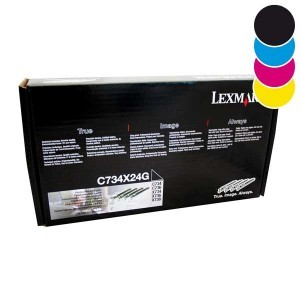 Pack de 4 Tambours Lexmark C734X24G noire et couleur