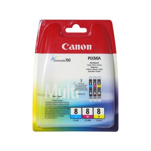 Lot de 3 cartouches Canon CLI 8 couleur