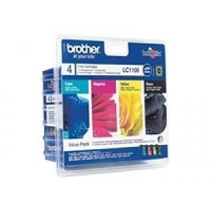 Pack de 4 Cartouches encre Brother LC1100 Noire et Couleur