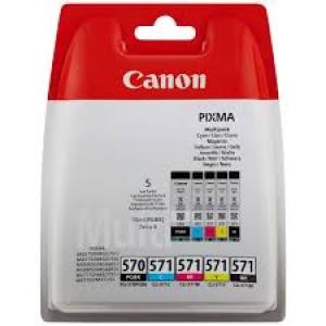 Multipack de 5 Cartouches Canon Noire PGI-570PGBK et Couleur cli-571