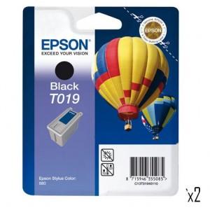 Lot 2 Cartouches encre Epson  T019 noire