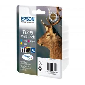 Pack de 3 Cartouches encre Epson T1306 - Jaune, Magenta, Cyan  XL