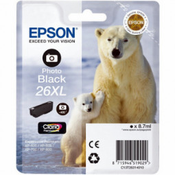 Cartouche encre Epson T2631 noire photo  - 26XL Ours Polaire