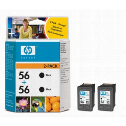 Pack 2 Cartouches encre HP C6656AE N°56 Noire
